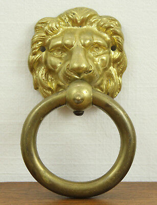 "Door Knocker VINTAGE Brass Lion's Head Heavy 3 1/2"" Diameter Ring"