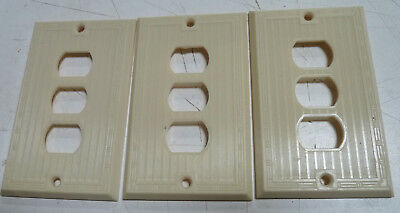 Vintage Art Deco Style Ribbed Ivory Despard LIne Cover Plates lot of 3