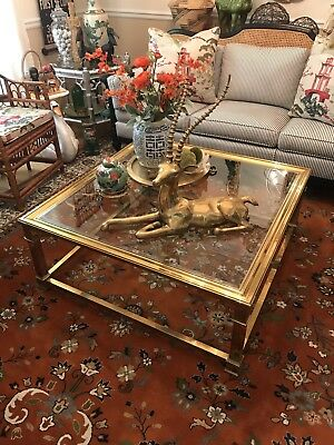 "Vintage Mastercraft Brass Coffee Table 40"" Freight Shipping Available"