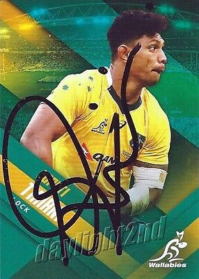 ✺Signed✺ 2017 WALLABIES Rugby Union Card Card LOPETI TIMANI