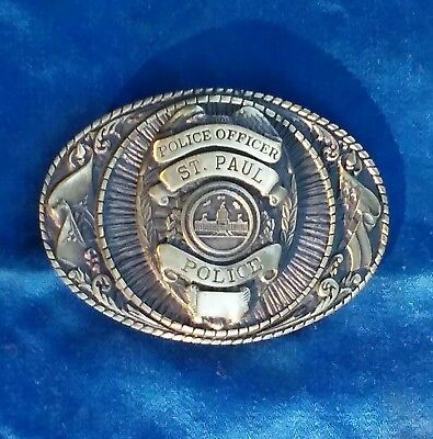 St Paul Police MN Officer Brass Belt Buckle LIMITED EDITION No. 024