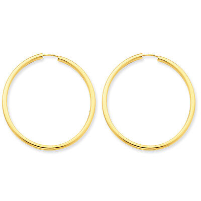 2mm x 37mm 14K Yellow Gold Polished Round Endless Hoop Earrings