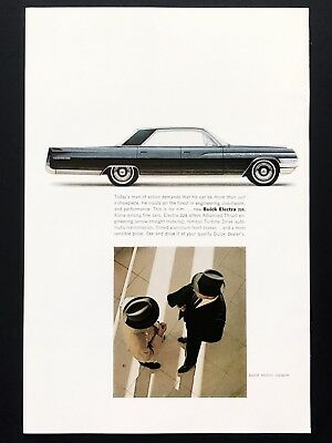 1963 Vintage Print Ad BUICK ELECTRA 225 Black Car Image 60's Style Men Hats