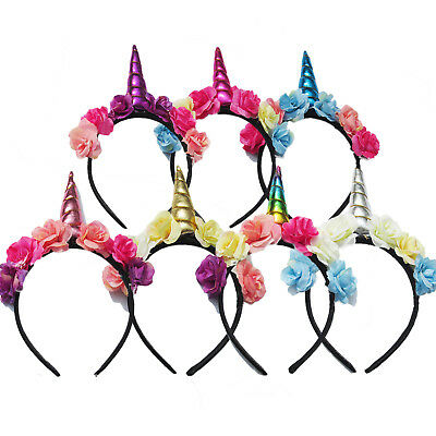 Decorative Elastic Kids Unicorn Horn Flower Headband Fancy Dress Girls Cosplay