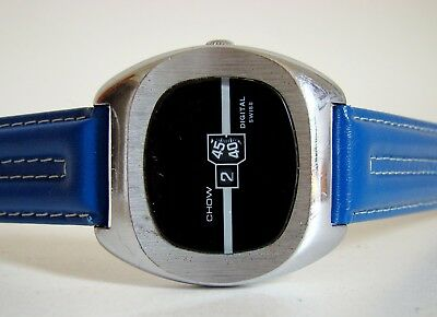 CHOW DIGITAL Swiss SCHEIBENUHR vintage Jump Hour Watch Unisex Space Age 60er TOP