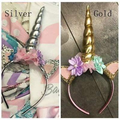 Lovely Decorative Flower Unicorn Horn Headdress Girls Headbands Cosplay Costume