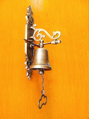 "Vintage Antique Solid Brass Gate Front Door Bell 8""inche​s Tall Excellence"