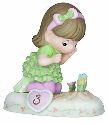 Precious Moments Brunette Girl with Flowers Age 3 Figurine, New, Free Shipping