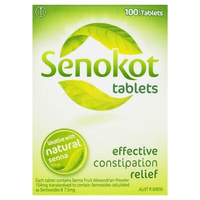 ~ Senokot 100 Tablets With Natural Senna Laxative Constipation Relief
