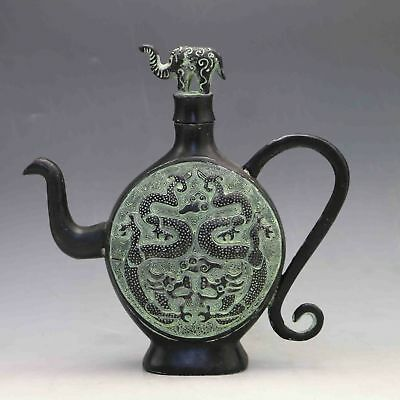 Chinese Old Bronze Hand-Carved Double Drgon Teapot & Elephant Lid