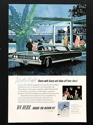 1963 Vintage Print Ad OLDSMOBILE Ninety-Eight Color Illustration Fancy Party