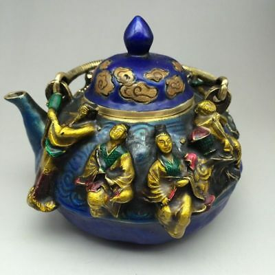 Chinese cloisonn hand carved Eight Immortals Teapot Xuande Marked
