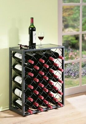 (32 Bottles, Pewter) - 32 Bottle Wine Rack with Glass Table Top, Pewter
