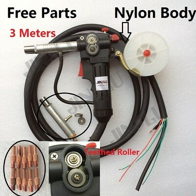 3 Meters Toothed Roller Nylon Body 10Ft Spool Gun Wire Feed Aluminum Steel Torch