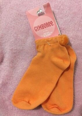 Nwt Gymboree Girls Orange Pom Pom Ankle Socks Sz 5-7 Years. Comfy, Strethcy.