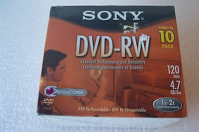 Sony DVD-RW Re-recordable  10 Pack 120 Min. 4.7 Gb/Go NEW Sony Factory Sealed