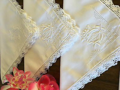 Vintage Madeira Embroidered White Work Dinner Napkins