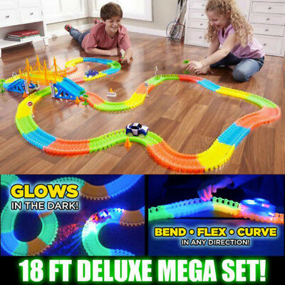 360 Piece Glowing Racing Mega Set In The Dark Track with Light Up LED Car Toy