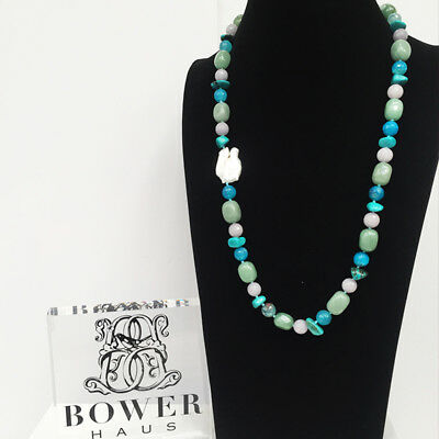 BOWERHAUS Turquoise & Agate Necklace - Keishi Pearl with Rhodium Plated Clasp