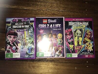 3 X Girls DVDs - Monster High & Lego Friends - Brand New