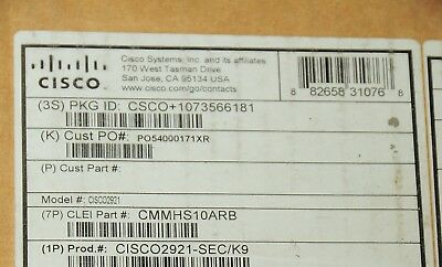 *Brand New* Cisco C2921-SEC/K9 Integrated Security Services Router 1 YEAR Wty
