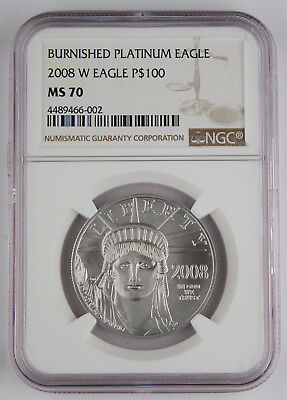 2008 W $100 1 Oz 9995 PLATINUM American EAGLE Burnished Coin NGC MS70 @Rare@