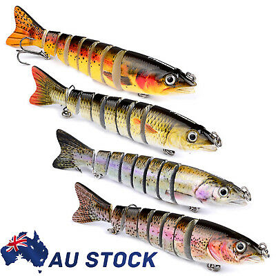 4pcs Kinds of Fishing Lures Segment Minnow Hard Baits Tackle Crankbaits Hooks