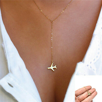 Airplane Pendant Fashion Gold Layered Necklace For Women Tiny Dainty Necklace