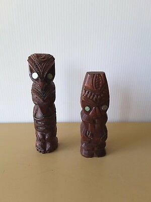 TWO Carved ONE Wood ONE RESIN Tiki New Zealand Tattoos Paua Shell Eyes  Carving