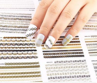 24 Pcs DIY 3D Manicure Decals Metallic Lace Flower Nail Art Stickers Gold