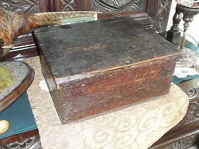 Early 19Th Century Oak Bible / Deed Box Circa 1800...nice Patina, Some Damage