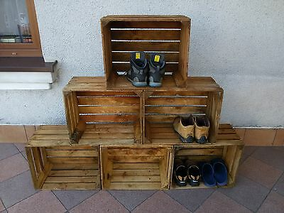 6 wooden crates fruit apple boxes vintage home decor  Cleaned!