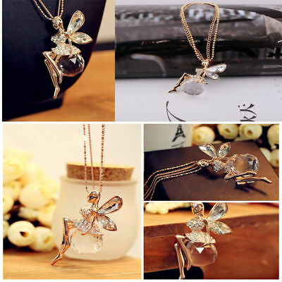 Women Long Chain Sweater Necklace Crystal Fairy Angel Wing Pendant Xmas Gift