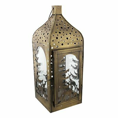 Christmas Candle Lantern Reindeer & Christmas Trees Cut Out Design