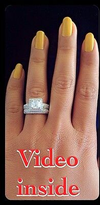 2Pieces Bridal Set 3Ct Princess Cut Created Diamond Engagement Ring 925 Silver