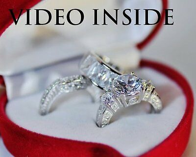 Rare 3Pieces Set Created Diamond in Solid 925 Silver Engagement Ring
