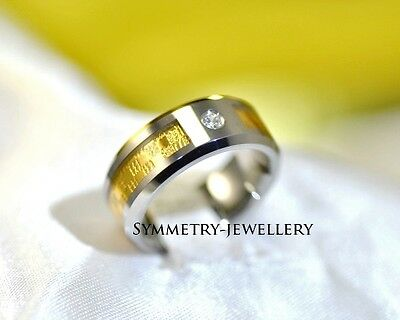 2Pieces Real Tungsten Gold Inlay engagement wedding band ring