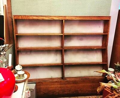 Vintage large old school library bookcase shelving shop display Collect Colne