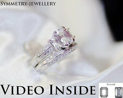 2.88 Carat 3 Set Diamond Engagement Ring in Real 925 Sterling Silver
