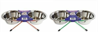 New Stainless Steel Dog Bowl 2qt Double Diner Stand In/Outdoor Feeding Food Pets