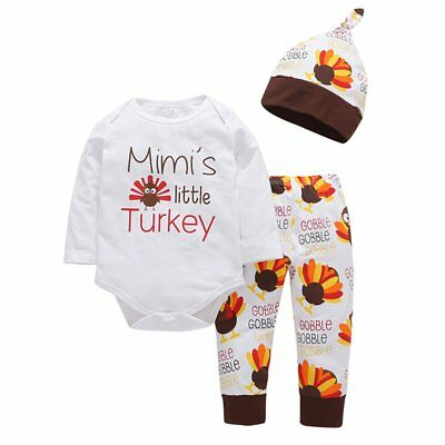 Newborn Baby Boy Girl Thanksgiving Clothes Tops Romper Pants Hat 3PCS Outfit Set