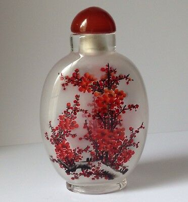 Beautiful Chinese Snuff Bottle With Inside Flower Painting