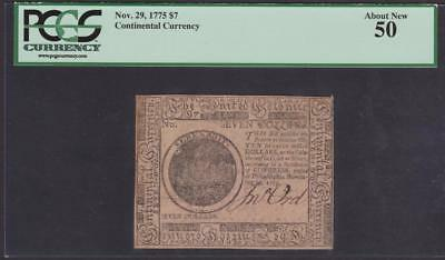 CC-17 *** PCGS AU50 *** $7.00 Nov. 29, 1775 Continental Colonial Currency