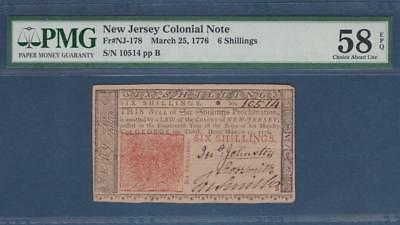 NJ-178 ** PMG Choice AU58 EPQ ** 6s  Mar. 25, 1776  New Jersey Colonial Currency