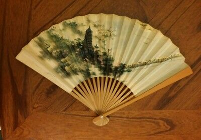 Vintage Bamboo And Paper Accordian Fan, Peoples Republic of China.