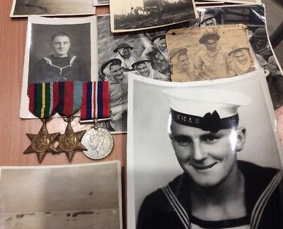 Australian Ww2 Navy Medal Group Of 3 With Papers And Photos
