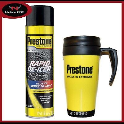 Prestone De-icer Spray Can Melt Ice down to -40°C 600ml + Prestone Travel Mug