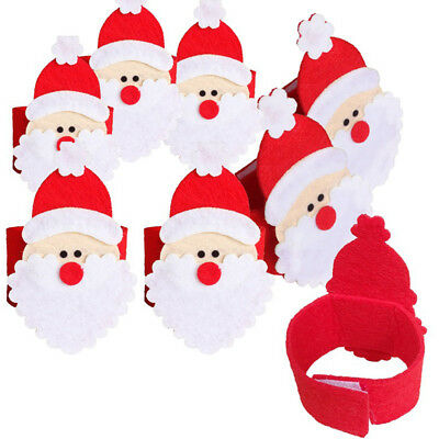 4x Christmas Santa Buckle Napkin Ring Serviette Tissue Holder Dinner Table Decor