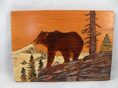Vintage Folk Art Bear Carving Painting On Wooden Board Plaque
