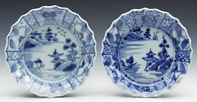 Pair Antique Chinese Qianlong Pickle Dishes With Watery Landscapes 18Th C.